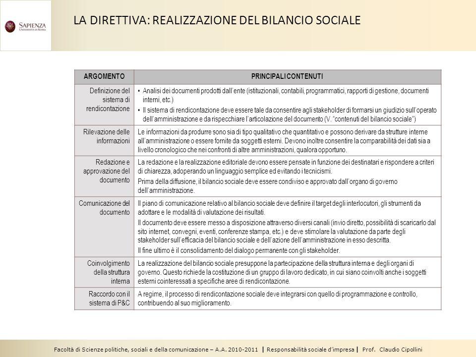 LA DIRETTIVA: REALIZZAZIONE DEL BILANCIO SOCIALE
