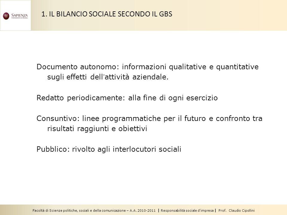 1. IL BILANCIO SOCIALE SECONDO IL GBS