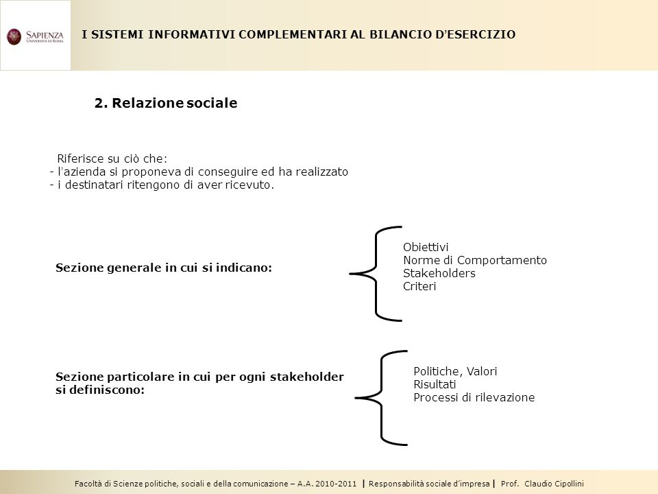 I SISTEMI INFORMATIVI COMPLEMENTARI AL BILANCIO D'ESERCIZIO