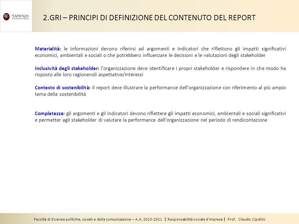 2.GRI – PRINCIPI DI DEFINIZIONE DEL CONTENUTO DEL REPORT