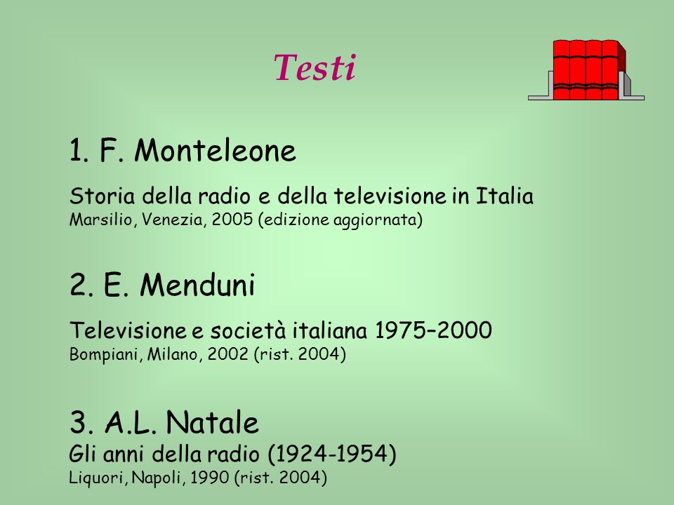 Testi 1. F. Monteleone 2. E. Menduni 3. A.L. Natale