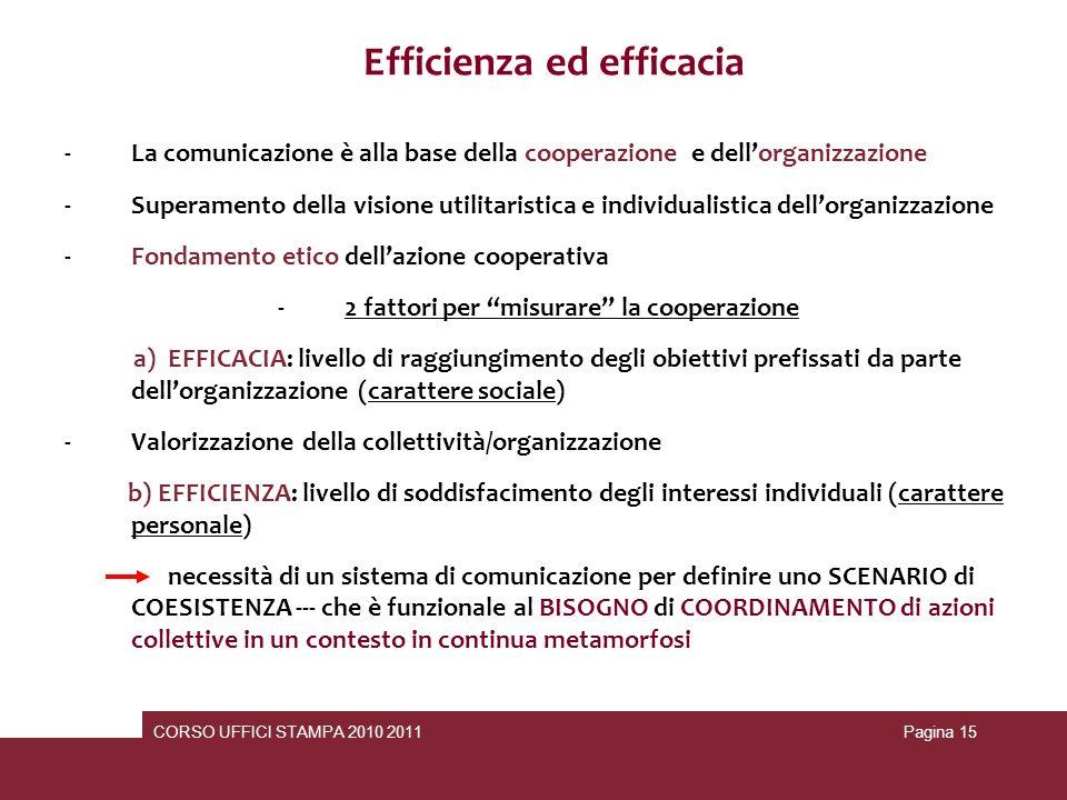 Efficienza ed efficacia 2 fattori per misurare la cooperazione