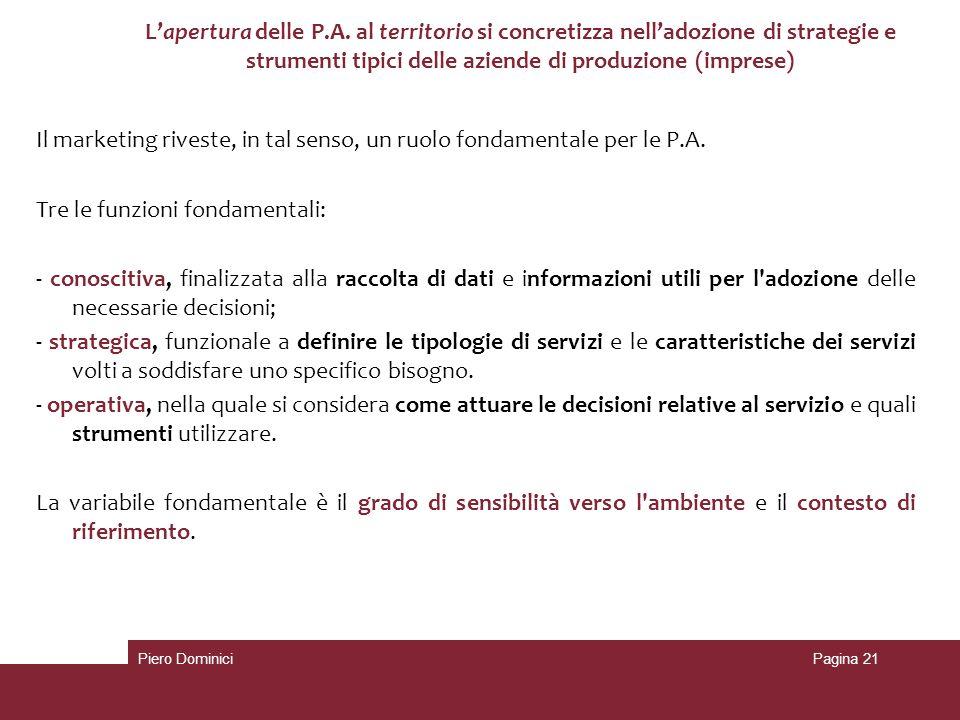 L'apertura delle P.A. al territorio si concretizza nell'adozione di strategie e strumenti tipici delle aziende di produzione (imprese)