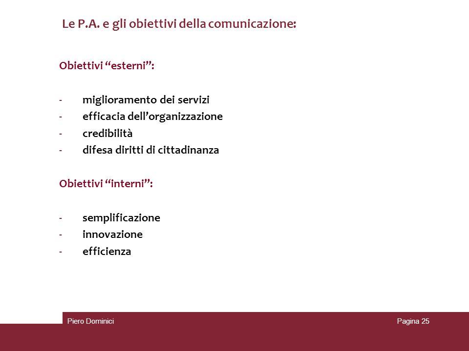 Le P.A. e gli obiettivi della comunicazione:
