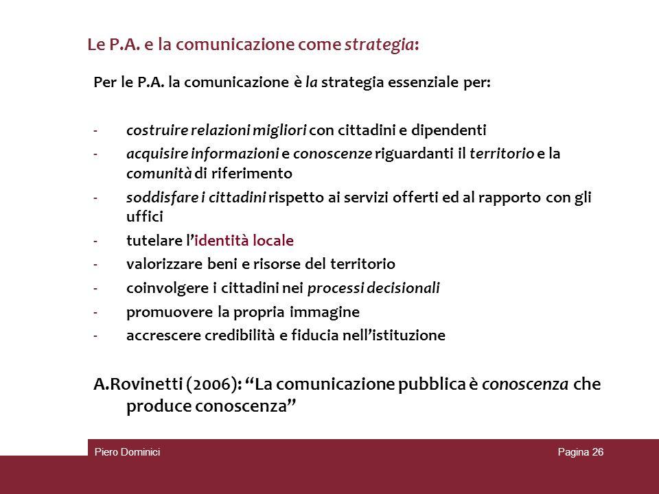 Le P.A. e la comunicazione come strategia: