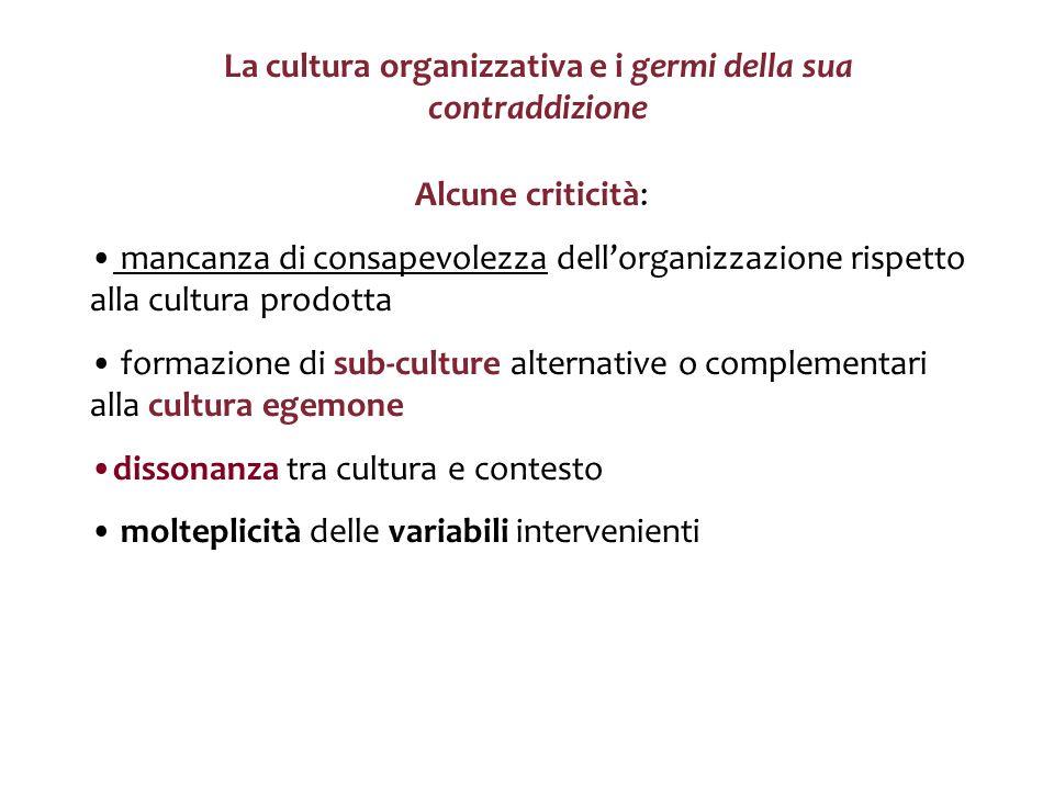 La cultura organizzativa e i germi della sua contraddizione