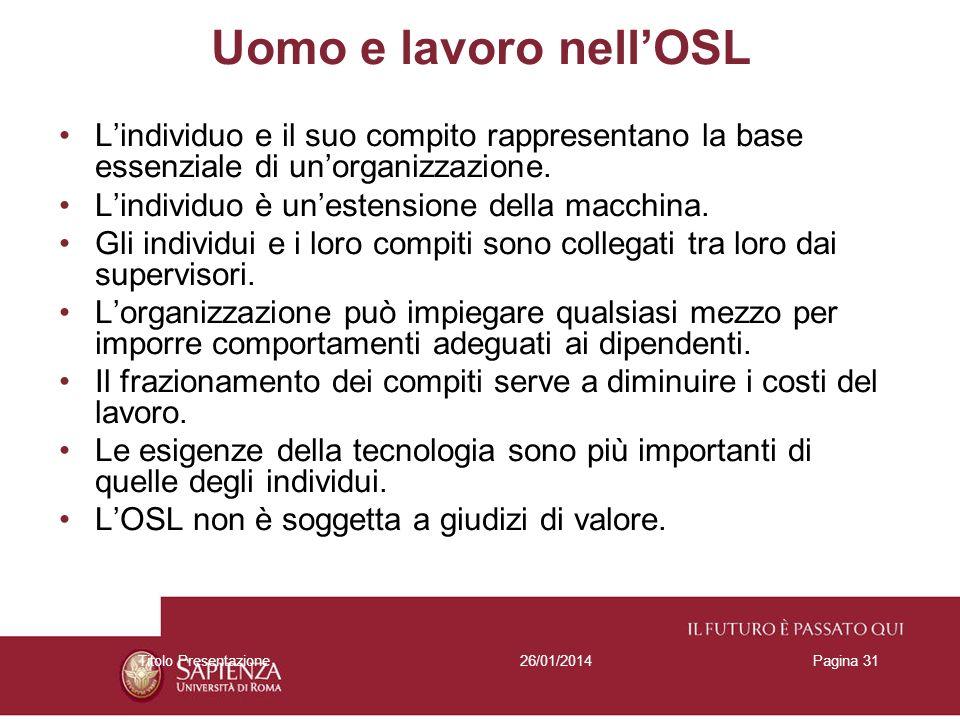 Uomo e lavoro nell'OSLL'individuo e il suo compito rappresentano la base essenziale di un'organizzazione.