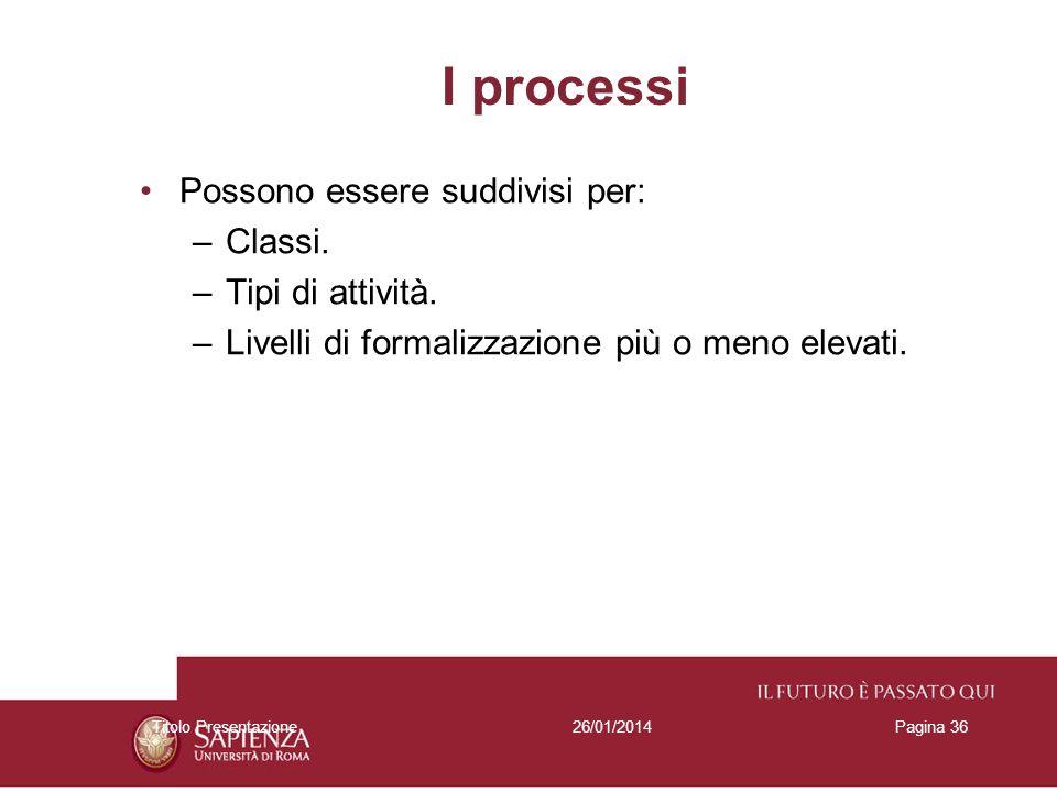 I processi Possono essere suddivisi per: Classi. Tipi di attività.