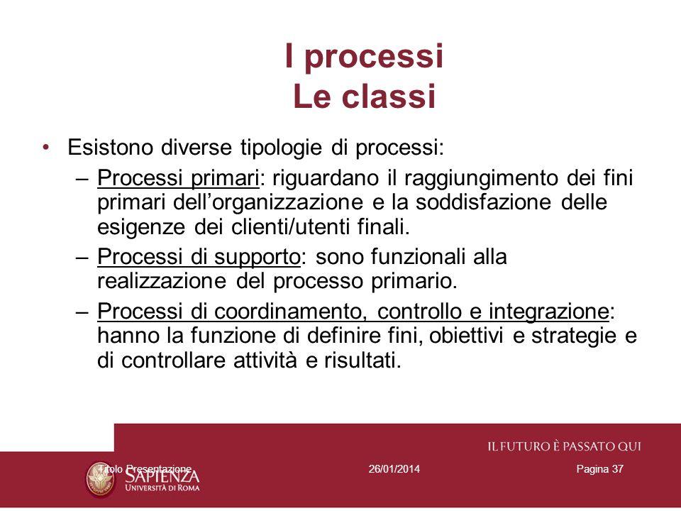 I processi Le classi Esistono diverse tipologie di processi: