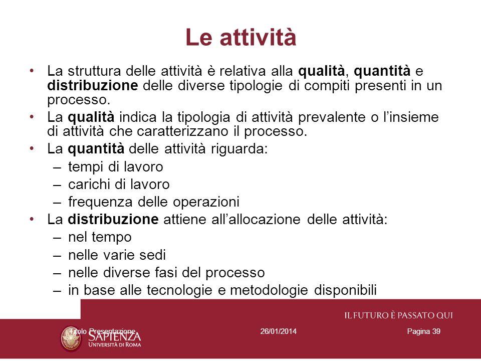 Le attività La struttura delle attività è relativa alla qualità, quantità e distribuzione delle diverse tipologie di compiti presenti in un processo.