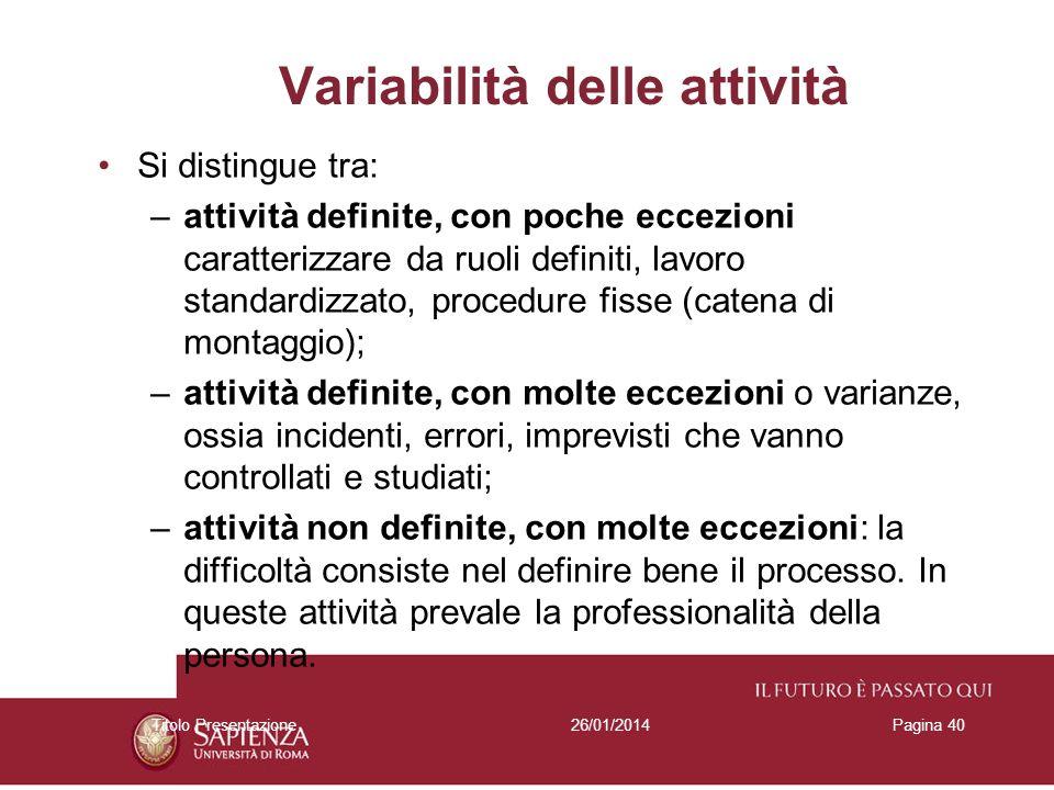 Variabilità delle attività