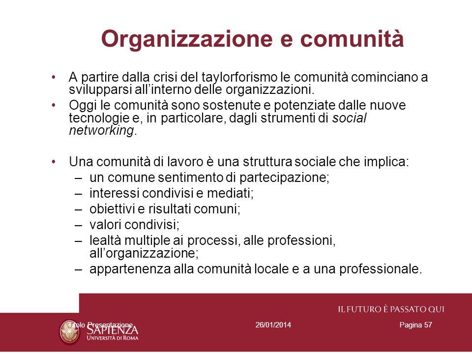 Organizzazione e comunità