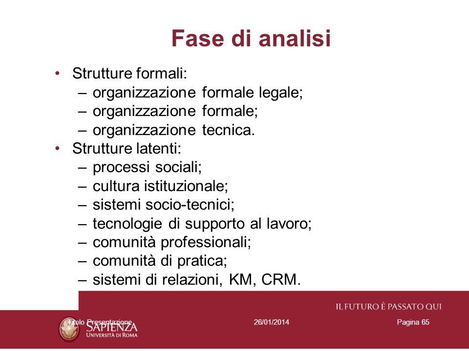 Fase di analisi Strutture formali: organizzazione formale legale;