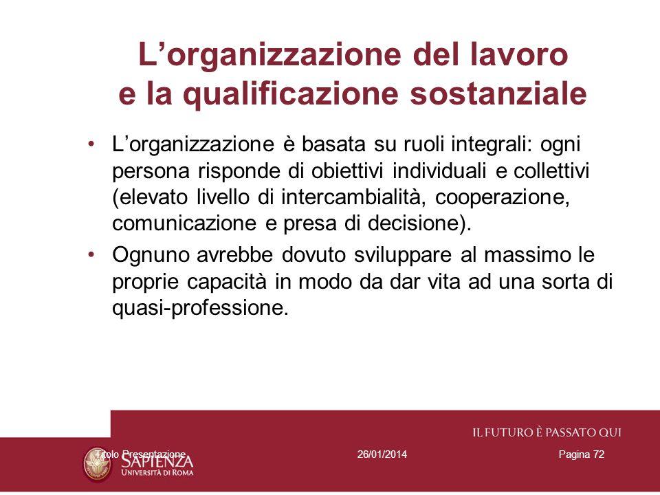 L'organizzazione del lavoro e la qualificazione sostanziale