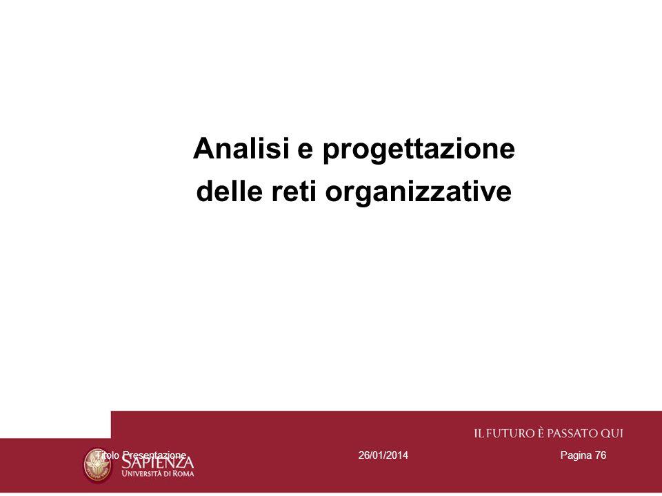 Analisi e progettazione delle reti organizzative