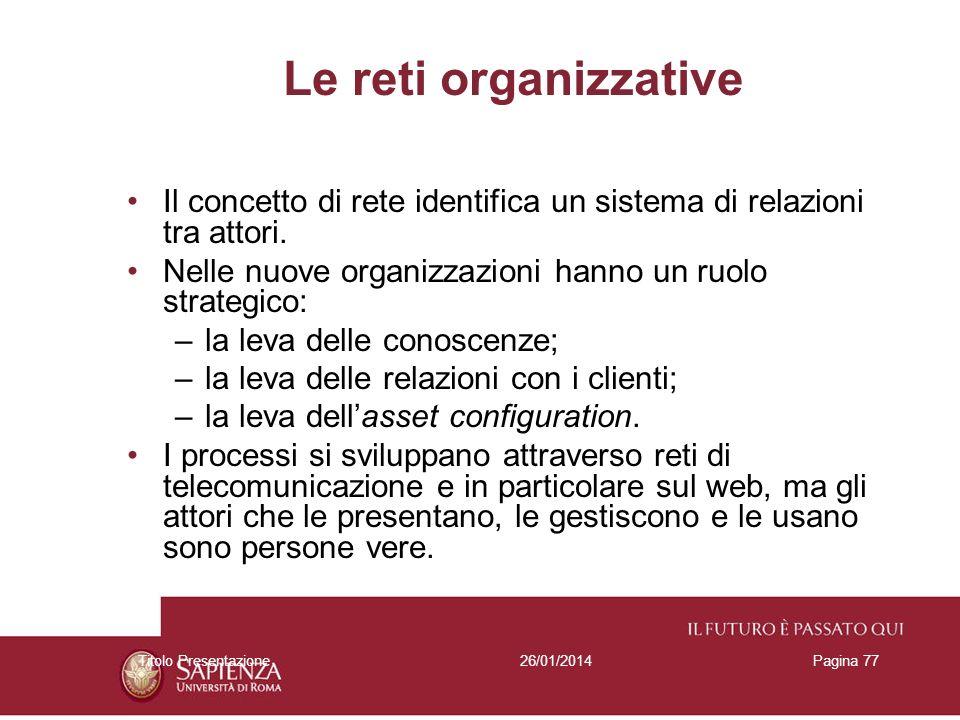 Le reti organizzative Il concetto di rete identifica un sistema di relazioni tra attori. Nelle nuove organizzazioni hanno un ruolo strategico: