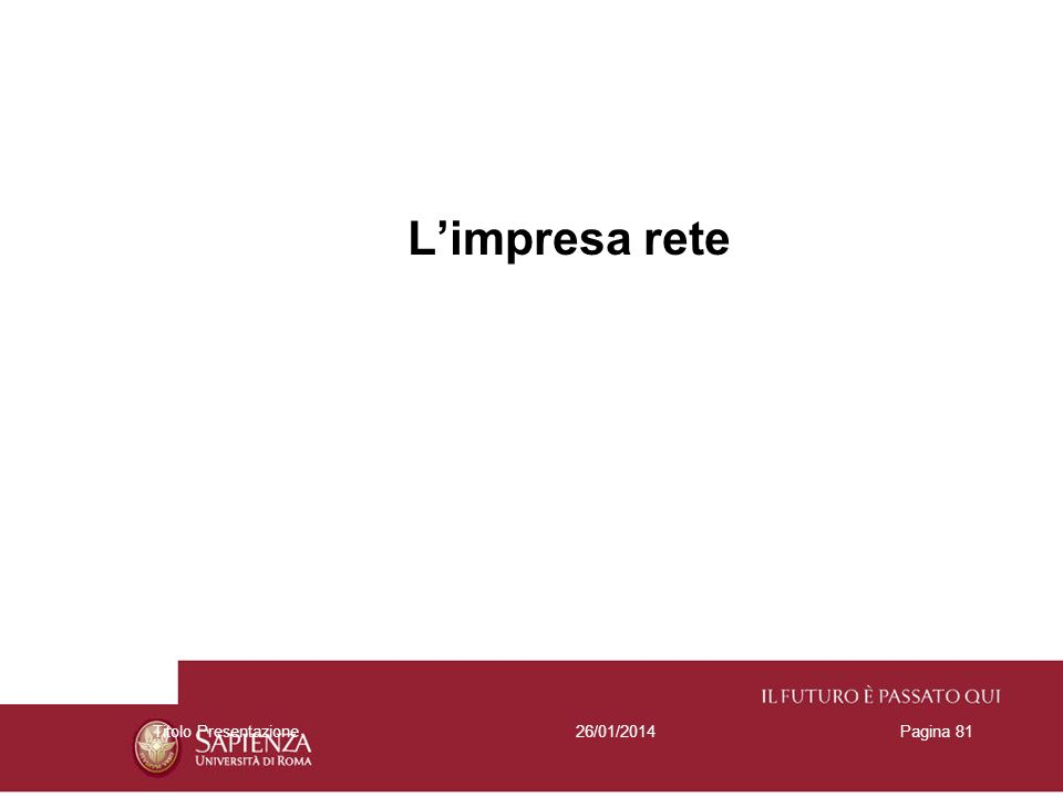 L'impresa rete Titolo Presentazione 27/03/2017