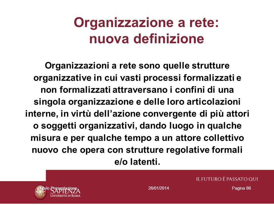 Organizzazione a rete: nuova definizione