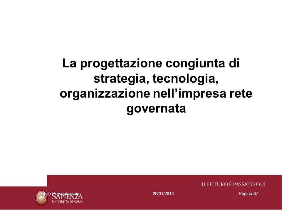 La progettazione congiunta di strategia, tecnologia, organizzazione nell'impresa rete governata