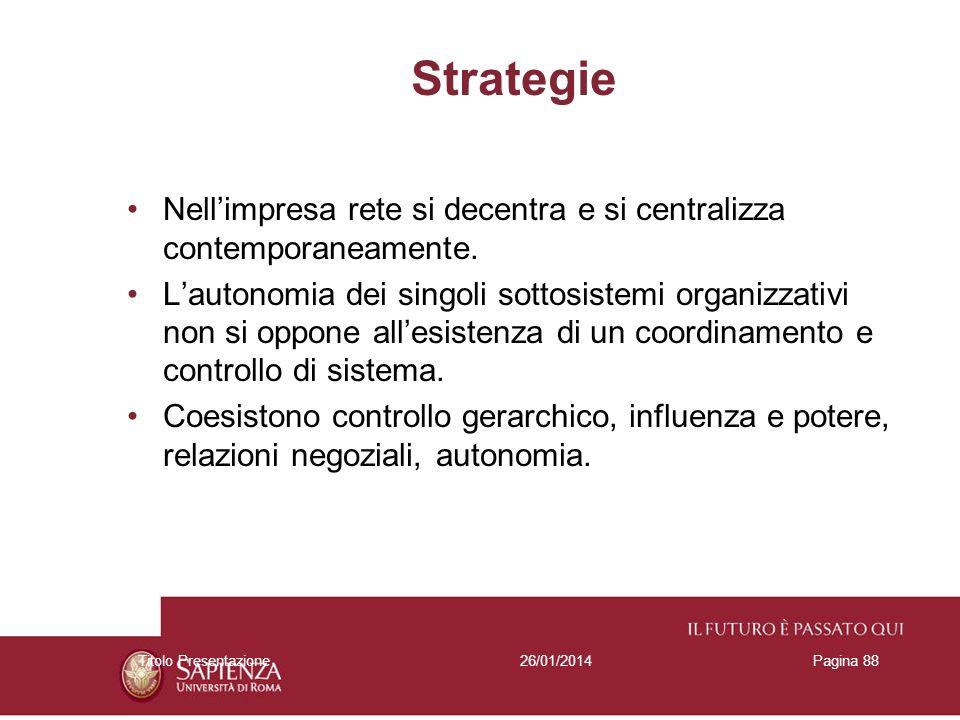 Strategie Nell'impresa rete si decentra e si centralizza contemporaneamente.
