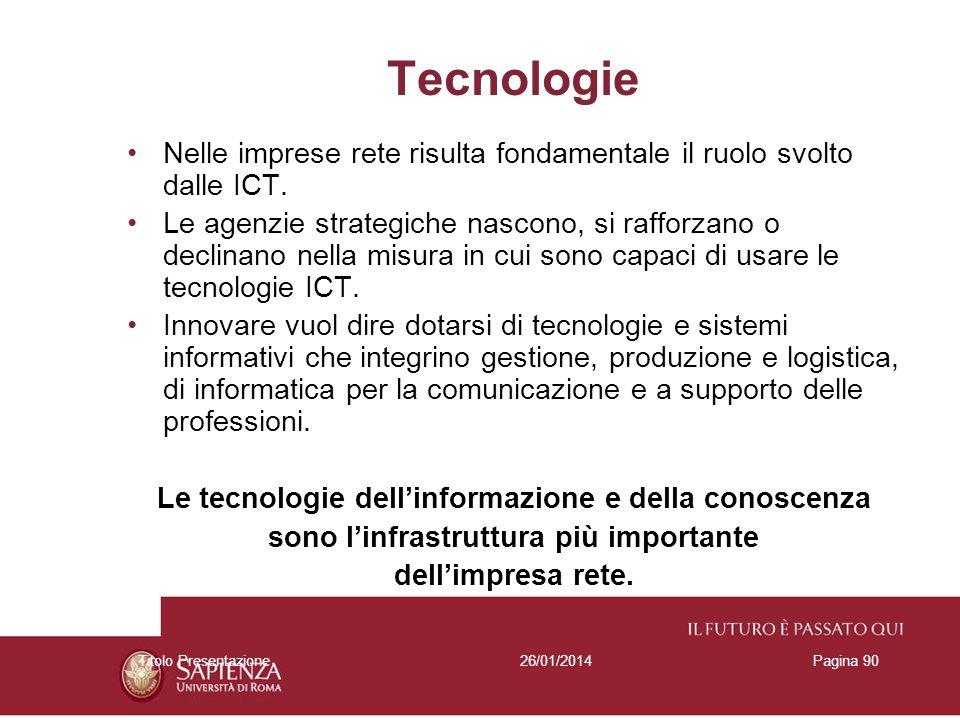 Tecnologie Nelle imprese rete risulta fondamentale il ruolo svolto dalle ICT.