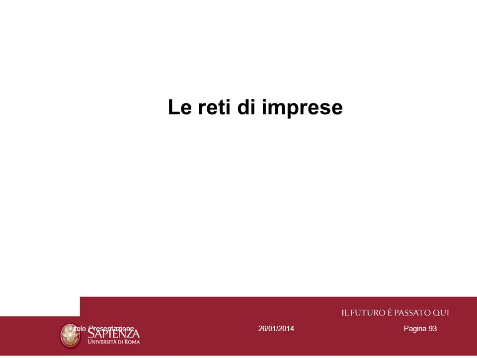 Le reti di imprese Titolo Presentazione 27/03/2017