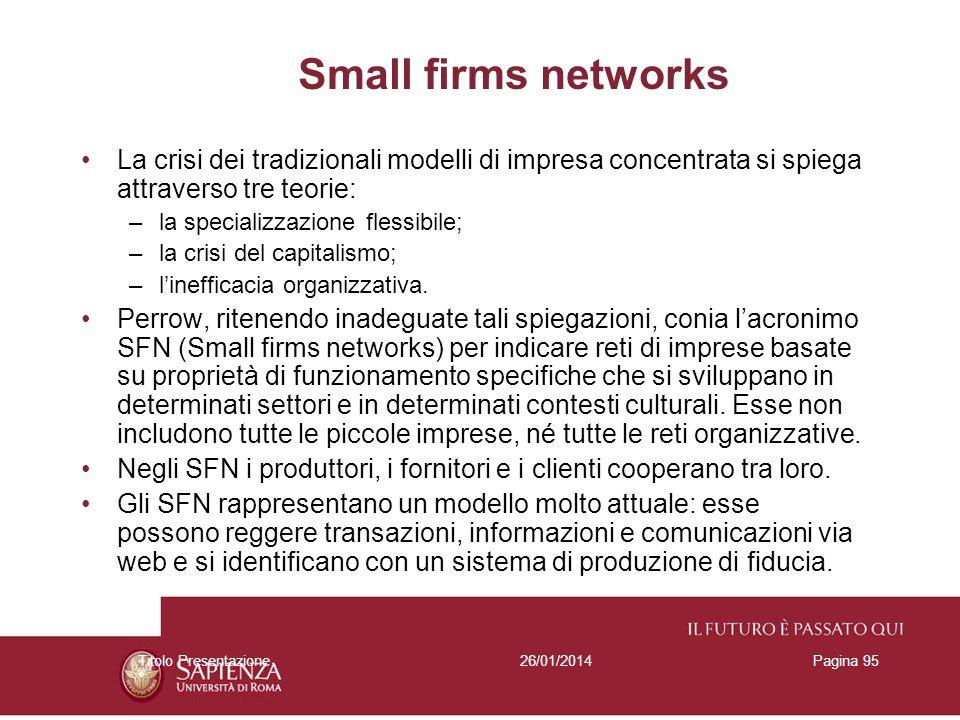 Small firms networks La crisi dei tradizionali modelli di impresa concentrata si spiega attraverso tre teorie: