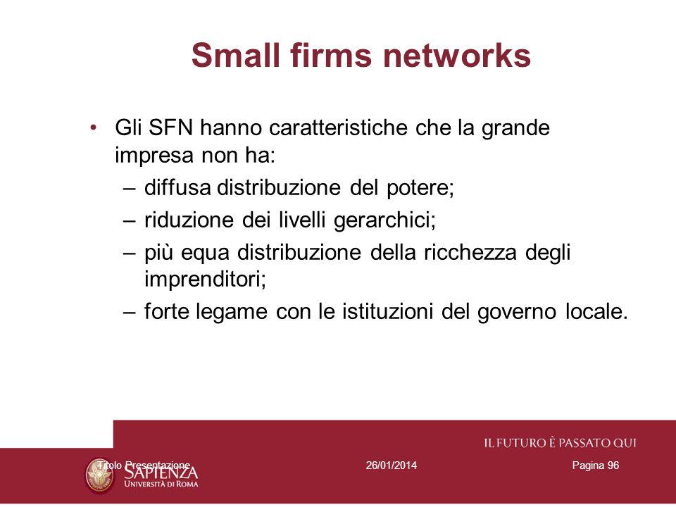 Small firms networks Gli SFN hanno caratteristiche che la grande impresa non ha: diffusa distribuzione del potere;