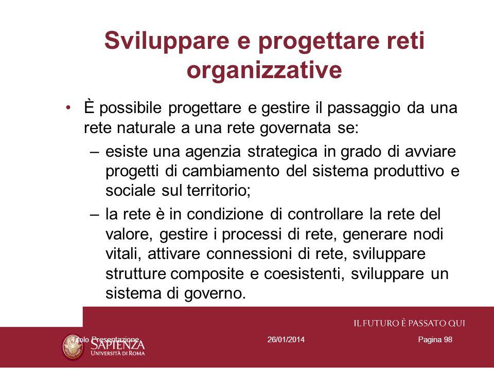 Sviluppare e progettare reti organizzative