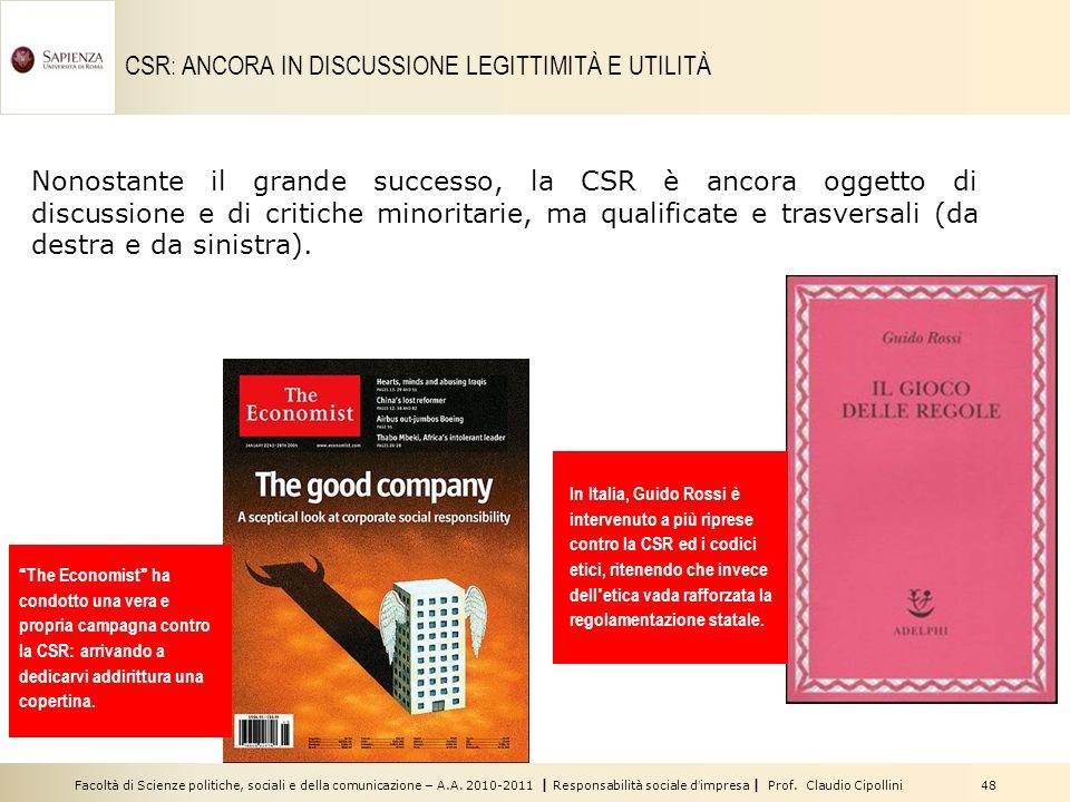 CSR: ANCORA IN DISCUSSIONE LEGITTIMITÀ E UTILITÀ