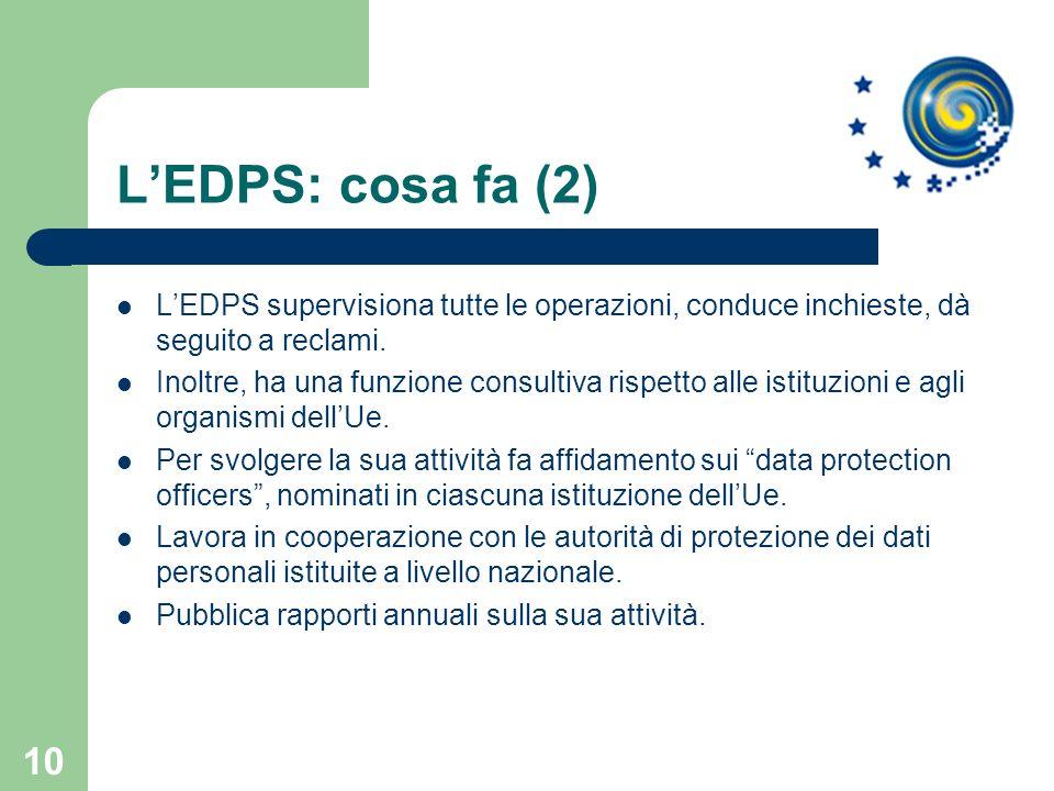 L'EDPS: cosa fa (2) L'EDPS supervisiona tutte le operazioni, conduce inchieste, dà seguito a reclami.