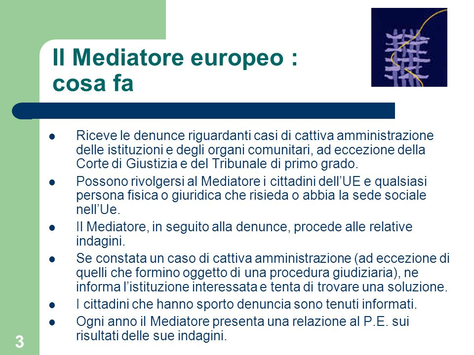 Il Mediatore europeo : cosa fa