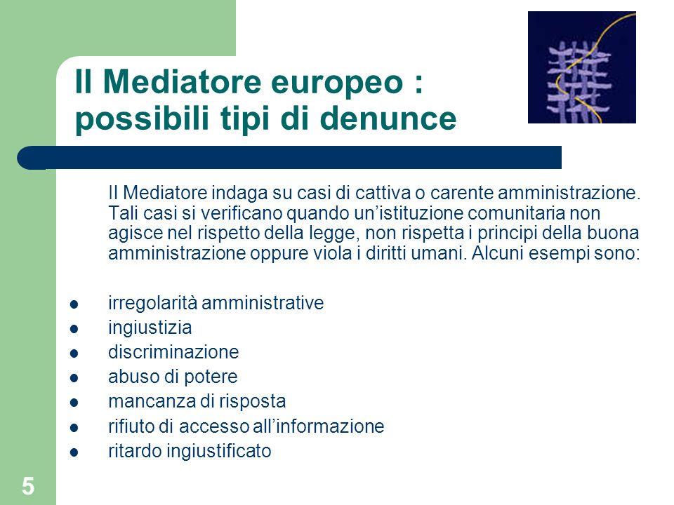 Il Mediatore europeo : possibili tipi di denunce