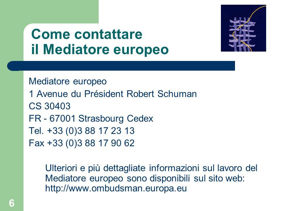 Come contattare il Mediatore europeo
