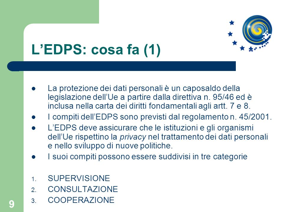 L'EDPS: cosa fa (1)