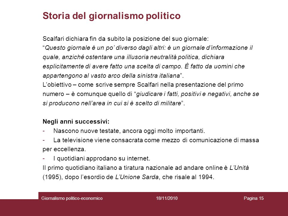 Storia del giornalismo politico