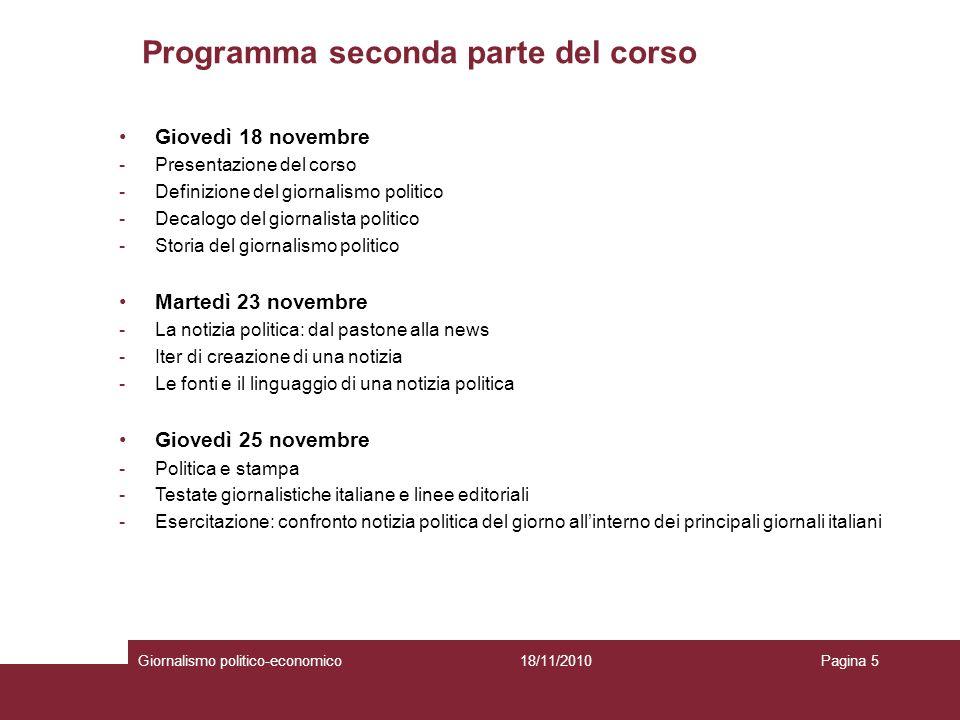 Programma seconda parte del corso