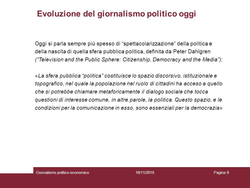 Evoluzione del giornalismo politico oggi