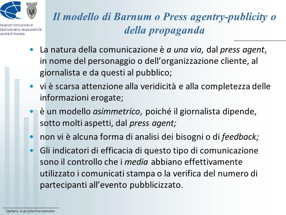 Il modello di Barnum o Press agentry-publicity o della propaganda