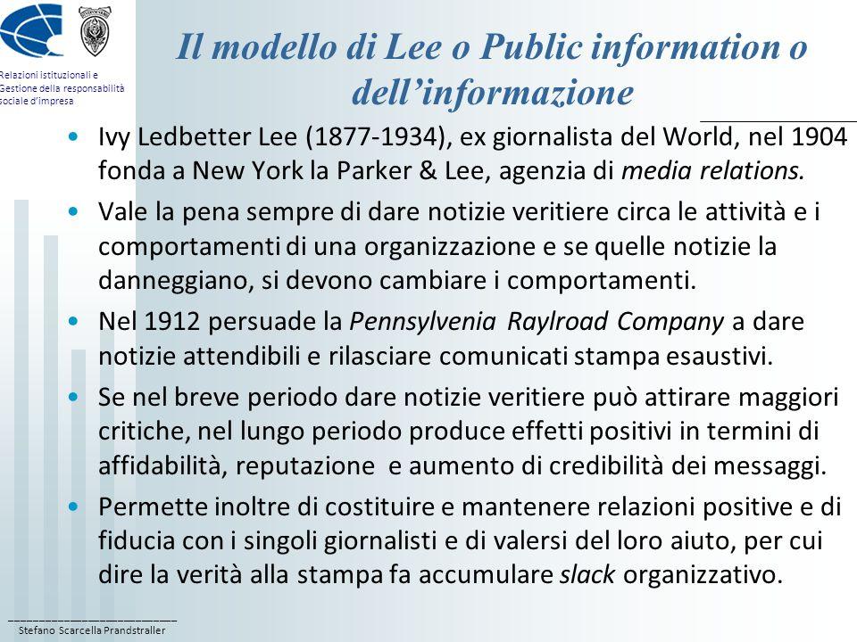 Il modello di Lee o Public information o dell'informazione