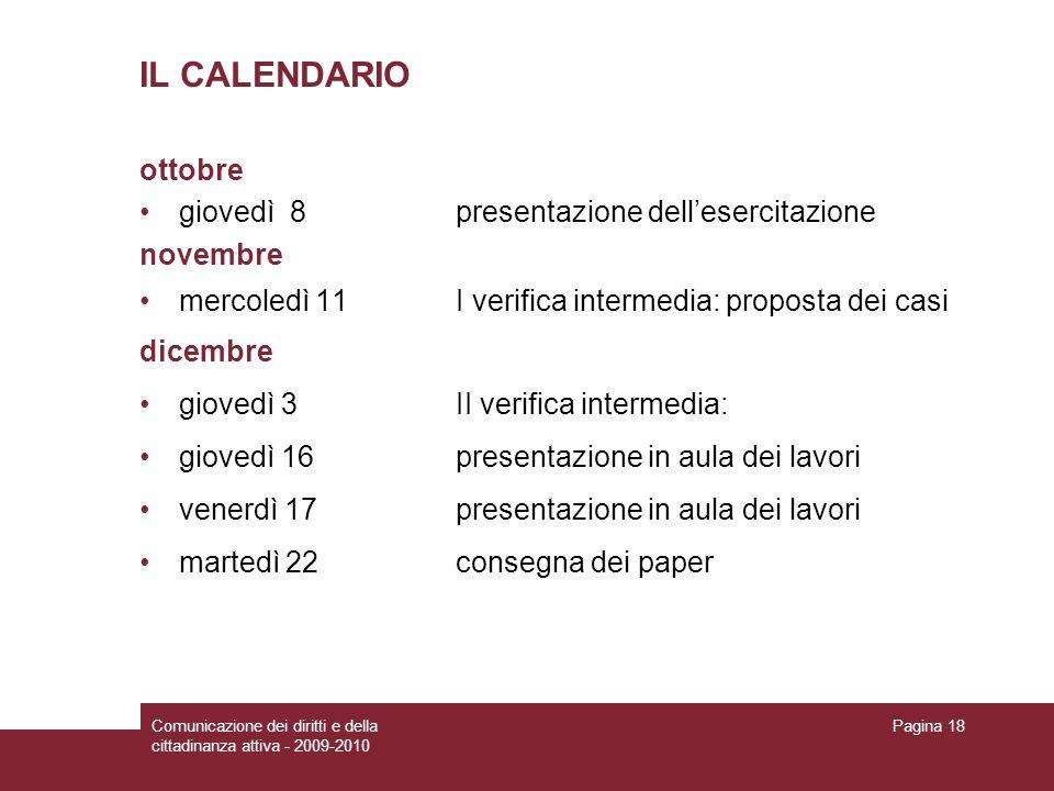 IL CALENDARIO ottobre giovedì 8 presentazione dell'esercitazione