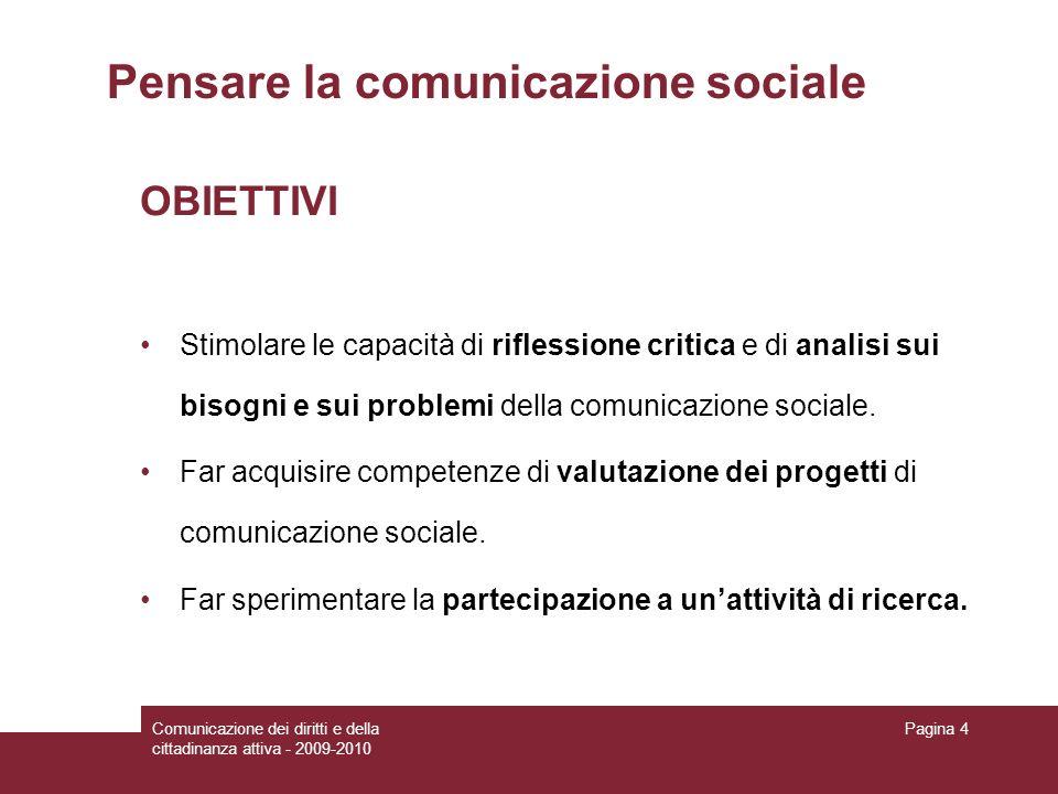Pensare la comunicazione sociale
