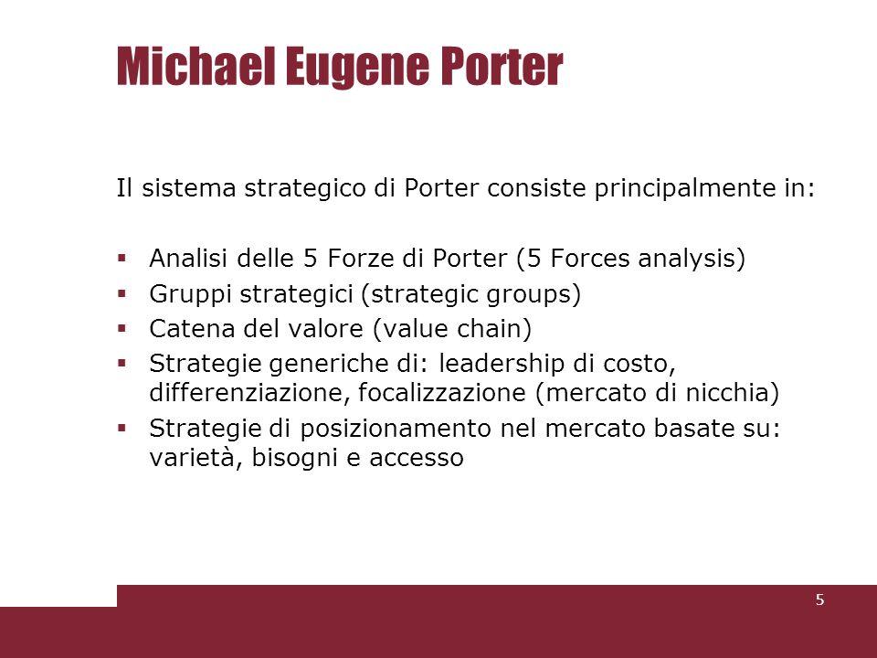 Michael Eugene Porter Il sistema strategico di Porter consiste principalmente in: Analisi delle 5 Forze di Porter (5 Forces analysis)