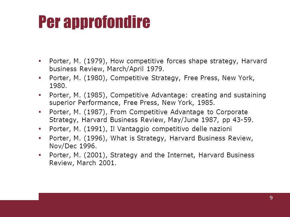 Per approfondire Porter, M. (1979), How competitive forces shape strategy, Harvard business Review, March/April 1979.