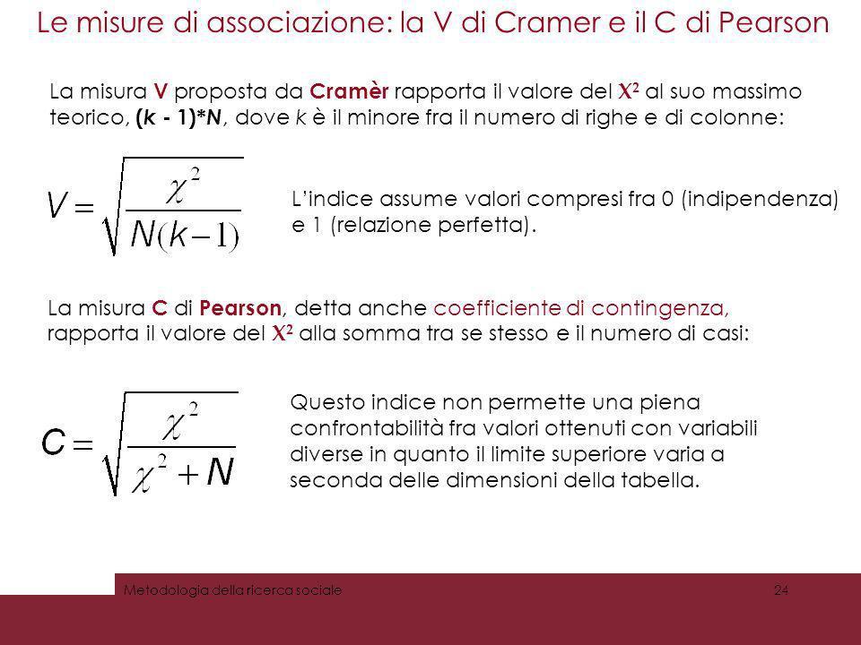 Le misure di associazione: la V di Cramer e il C di Pearson