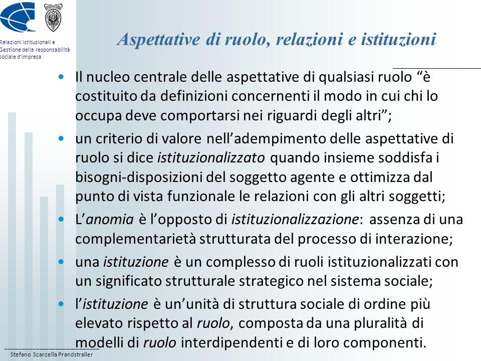 Aspettative di ruolo, relazioni e istituzioni