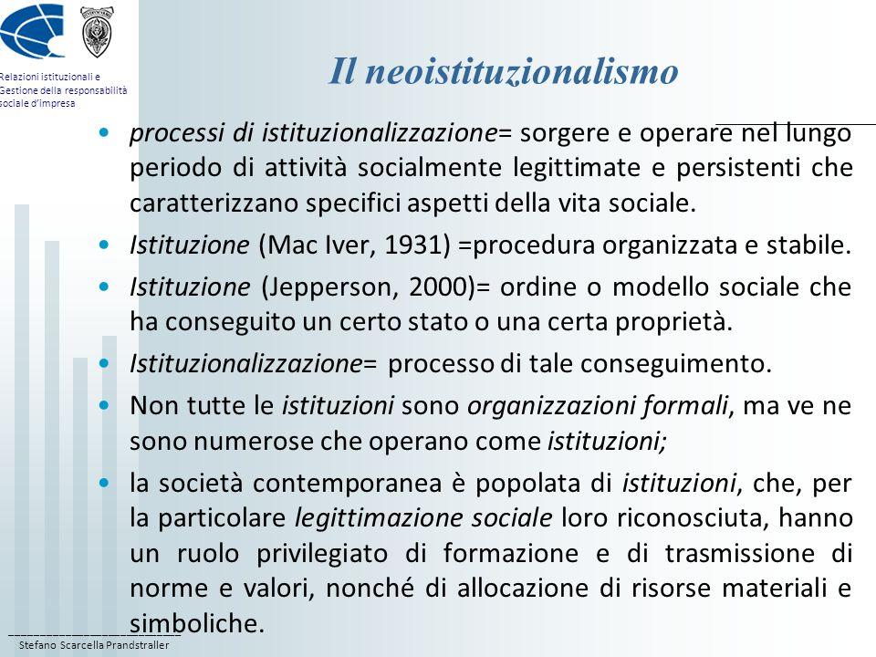 Il neoistituzionalismo