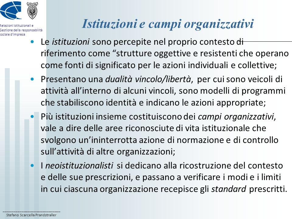 Istituzioni e campi organizzativi
