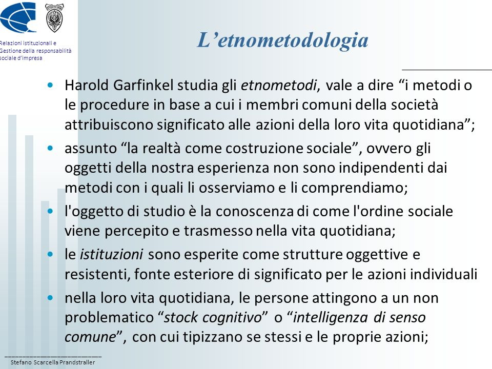 L'etnometodologia
