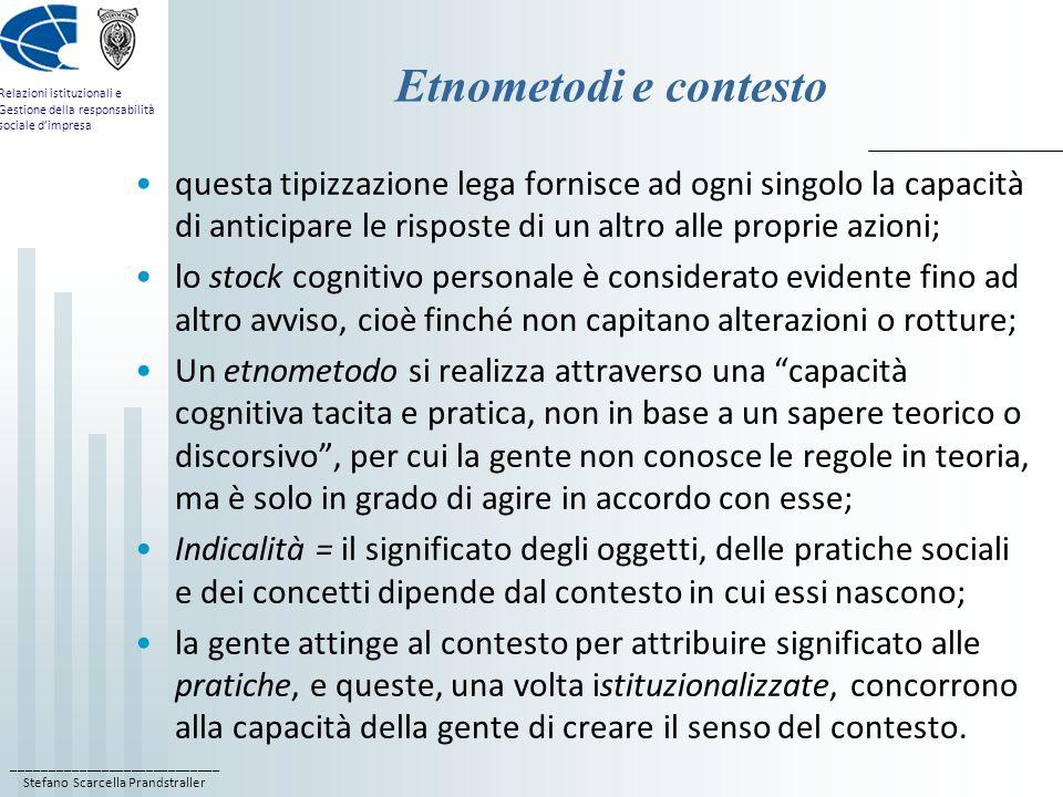Etnometodi e contesto questa tipizzazione lega fornisce ad ogni singolo la capacità di anticipare le risposte di un altro alle proprie azioni;